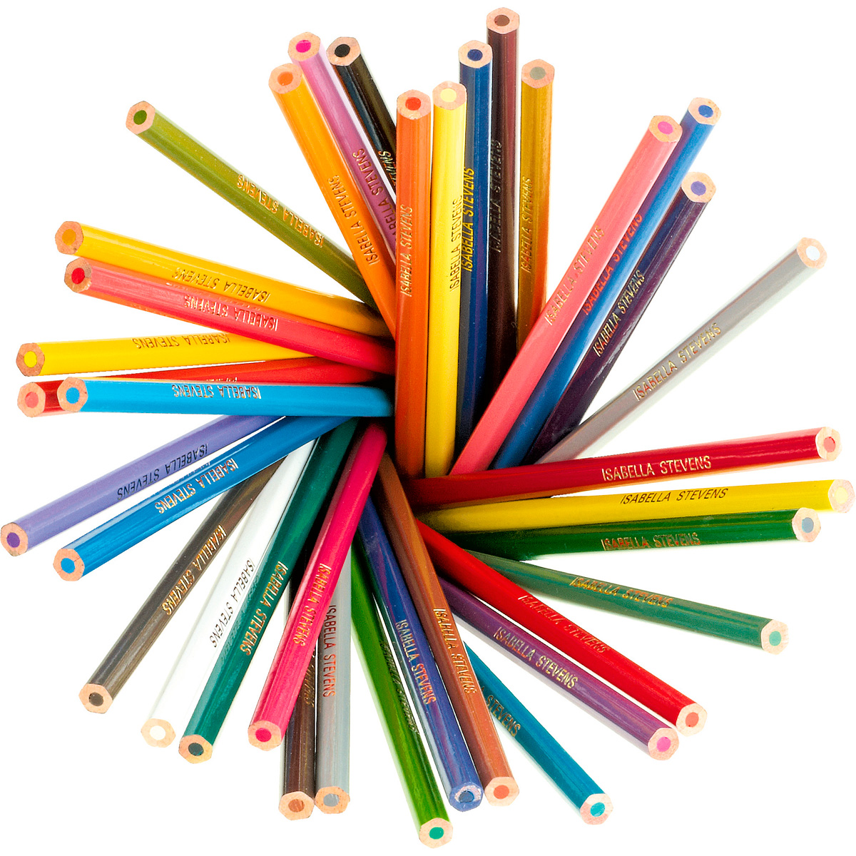 36 Personalised Colouring Pencils Named Pencils For