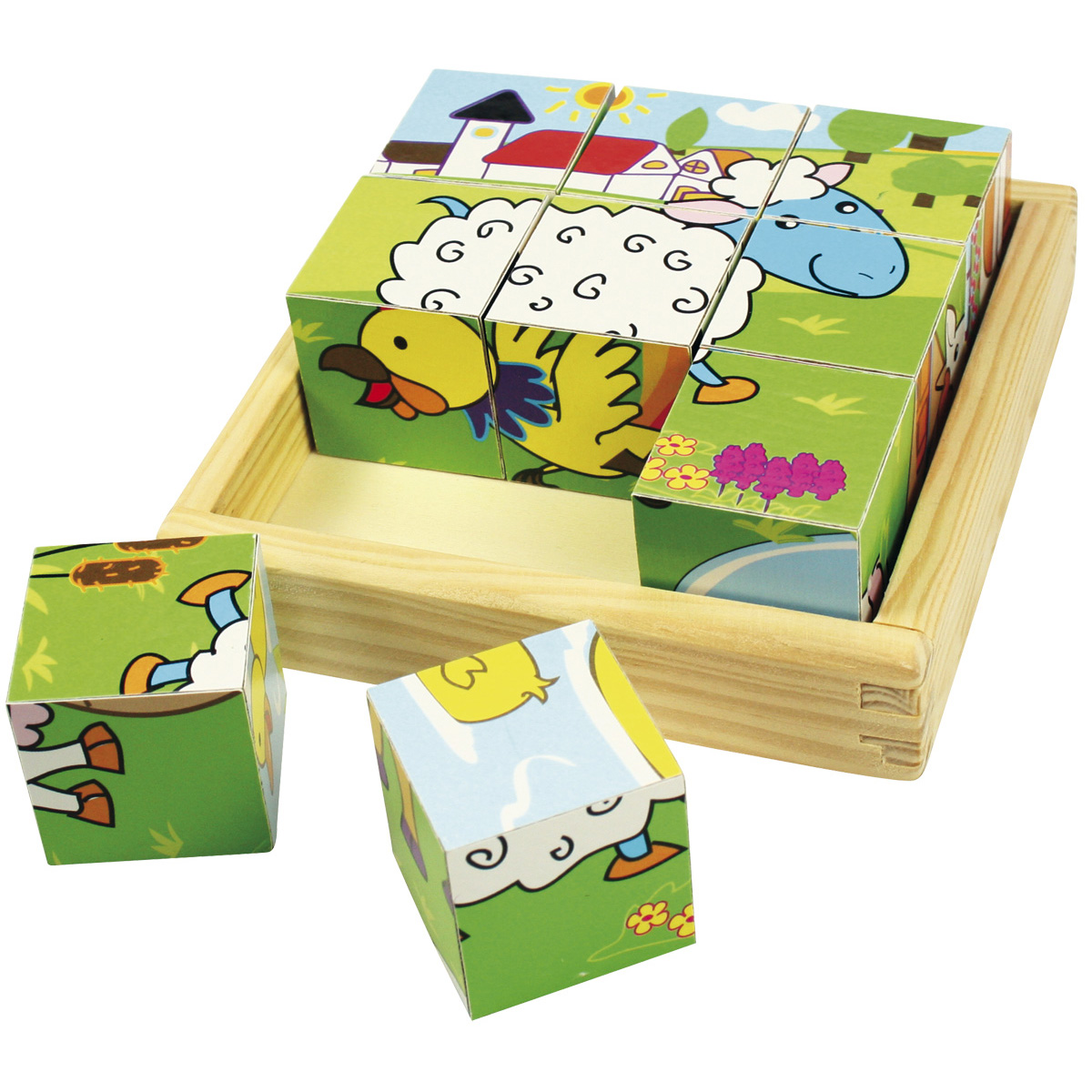 Wooden Farm Animal Cube Puzzle | Wooden Toys for Children| Wooden Farm ...