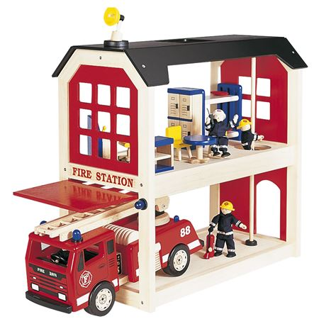 Fire Station Pin Toy Traditional Wooden Toys
