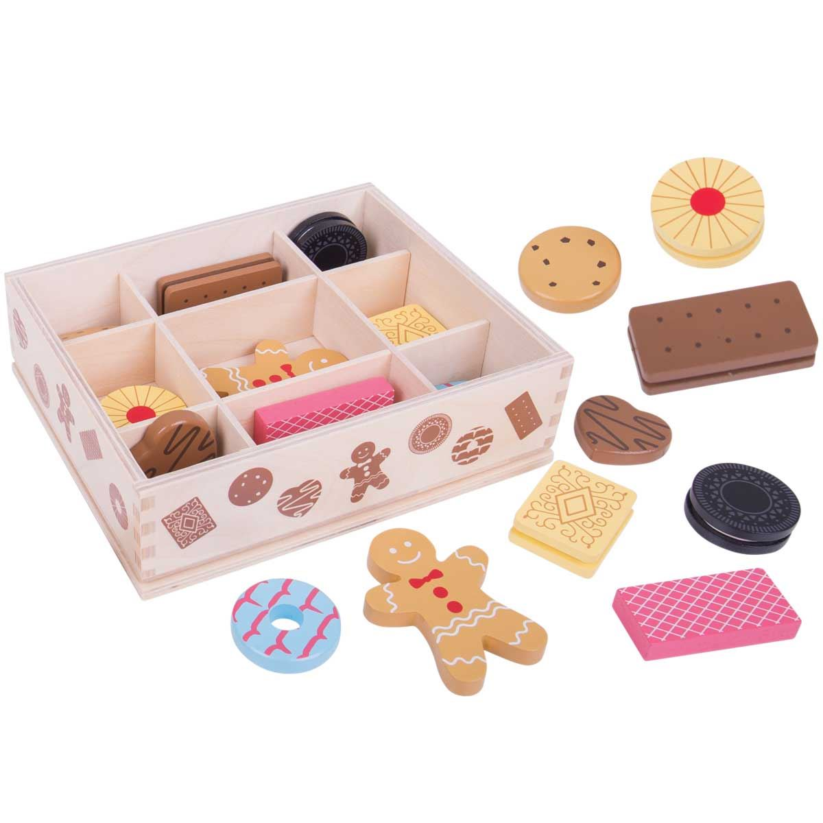 Box of biscuits bigjigs bj470 wooden play food for Cuisine wooden